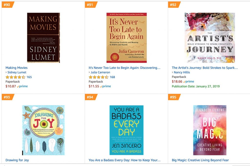The Artist's Journey by Nancy Hillis, MD landed in the Top !00 Self Help   Creativity Books on Amazon