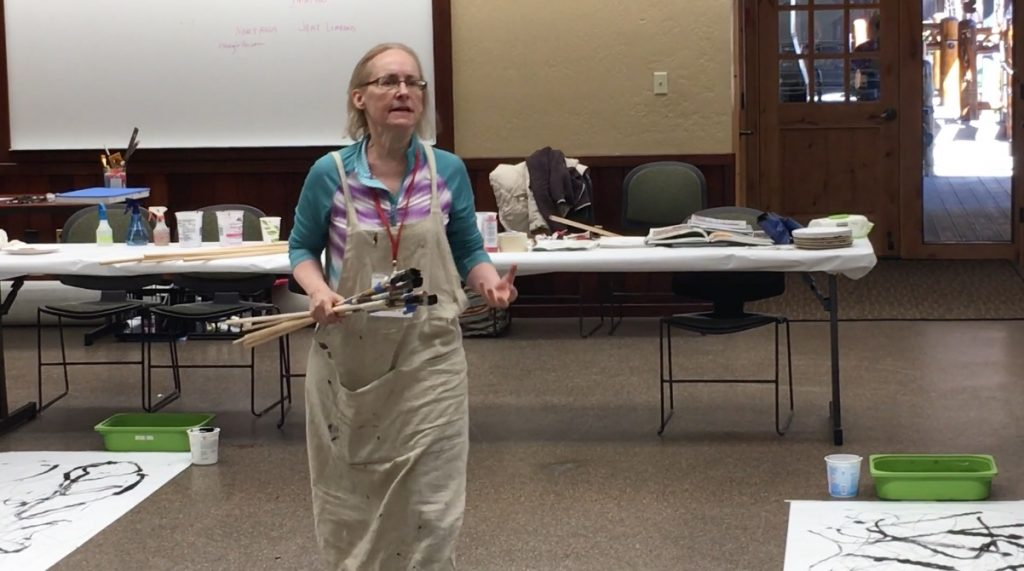 Nancy Hillis teaching at Stanford Sierra Camp #creativity #abstract #abstractpainting