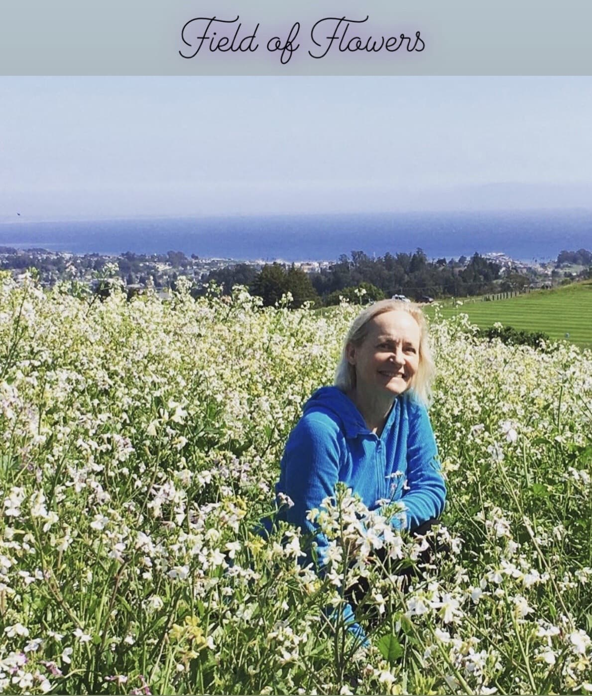 The author in a field of flowers.