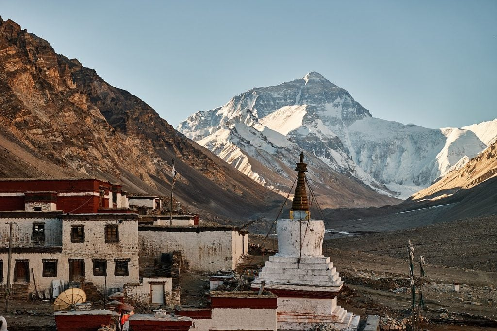 Rongbuk Monastery and Mt Everest