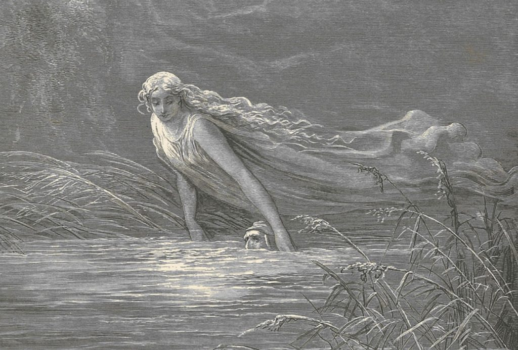 River Lethe- Dante immersed into the river of forgetfulness