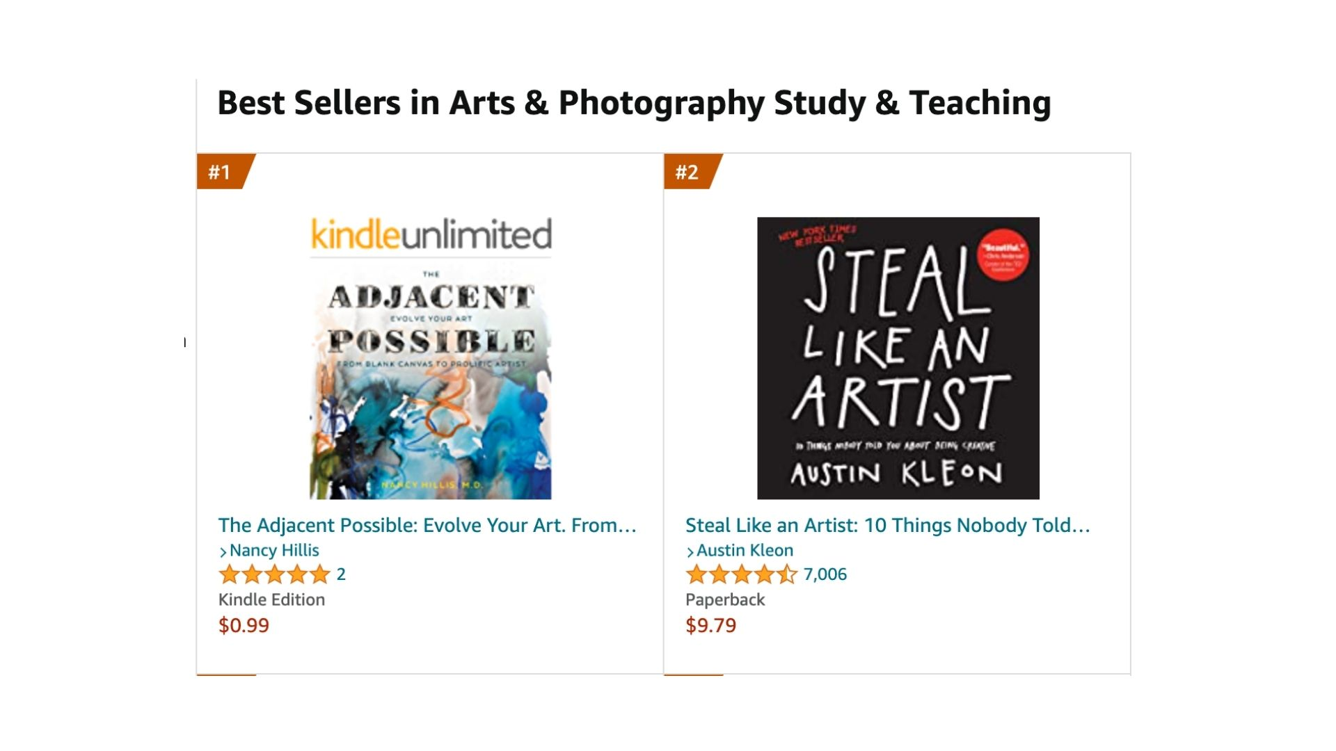 The Adjacent Possible- #1 Best Seller- Arts & Photography Study & Teaching